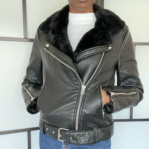 Topshop (Tall) faux leather jacket with faux fur